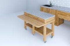 Perfect pomysł dla kuchennego wewnętrznego projekta z drewnianym meble 3 Zdjęcia Stock