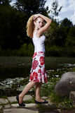 Perfect pose in summer dress Stock Photography