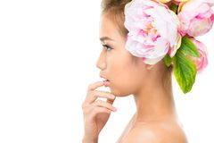 Perfect profile. Isolated image of a cute beauty in profile, copy-space provided stock images