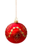 Perfect red christmas ball isolated on white Royalty Free Stock Images