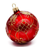 Perfect red christmas ball isolated Royalty Free Stock Image