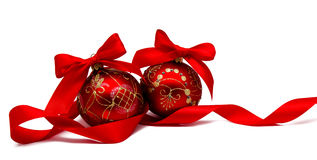 Perfect red christmas balsl with ribbon isolated Stock Images