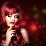 Perfect redhead woman portrait. Glamorous fashion model stock photo