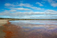 The perfect reflection of clouds on the Dimboola Lake Lochiel Vi stock photo