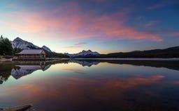 Perfect reflection in Maligne Lake, Jasper National Park. Alberta Canada royalty free stock photography