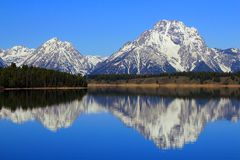 Mount Moran Reflected in Morning Light, Grand Teton National Park, Wyoming royalty free stock images