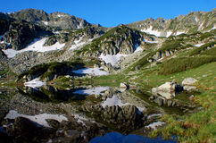Perfect reflection in Retezat, Romania stock image