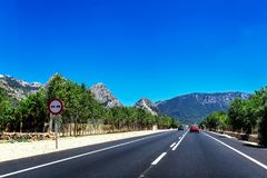 Perfect road in the mountains of Mallorca. Balearic Islands, Spain Stock Photography