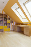 Perfect room in the attic stock photos