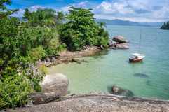 Perfect sailing day trip in Paraty Rio de Janeiro, Brazil. stock photo