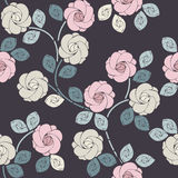 Perfect seamless pattern with beautiful roses and leaves Stock Photography