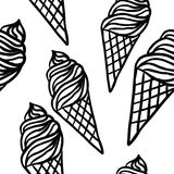 Perfect seamless pattern with ice cream cones Stock Photography