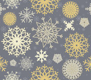 Perfect seamless pattern with stylish snowflakes. Elegant background can be used for wallpaper, linen, paper, bedclothes, textile, cover, card and more Royalty Free Stock Photo