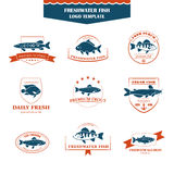Perfect set of fish logos. Royalty Free Stock Photo