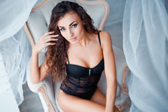Perfect, sexy body of young woman wearing seductive black lingerie Royalty Free Stock Images