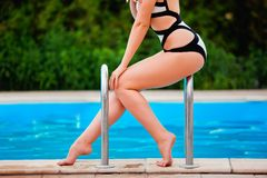 Perfect, sexy legs and body of young woman Stock Images