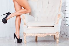 Perfect, sexy, slim and long woman legs, standing Stock Images