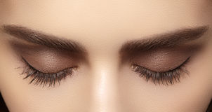 Perfect shape of eyebrows, brown eyeshadows and long eyelashes. Closeup macro shot of fashion smoky eyes visage. Beautiful macro shot of female eye with classic Royalty Free Stock Image
