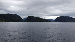 Perfect shapes under gray sky, fjord cruise Bergen-Mostraumen, Norway – July 2017 royalty free stock photo