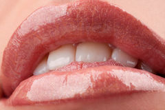Perfect shiny woman's lips Royalty Free Stock Images