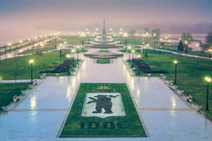 Perfect shot of scenery park in Yaroslavl on dawn with rain anniversary 1000.  Royalty Free Stock Images