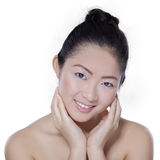 Perfect skin of pretty female model Stock Images