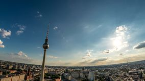 Perfect Skyline aerial of Berlin with beautiful sun and some clouds during summer stock video footage