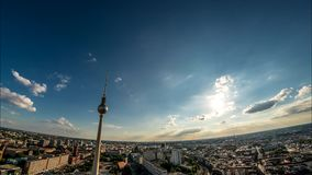 Perfect Skyline aerial of Berlin with beautiful sun and some clouds during summer stock video