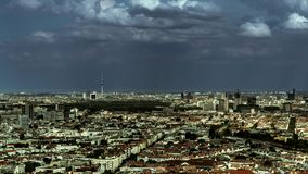 Perfect Skyline of Berlin with interesting Clouds throwing shadows over capital of Germany stock video