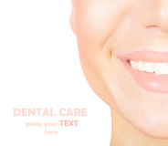 Perfect smile. With white healthy teeth, closeup on beautiful female face, dental care concept Stock Image