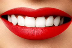 Perfect smile after bleaching. Dental care and whitening teeth. Stock Photos