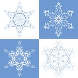 Perfect snowflakes. Ornate fanciful snowflakes for large design Stock Images
