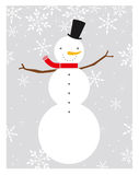 Perfect Snowman. Snowman Illustration on a gray snowflake background Stock Photography
