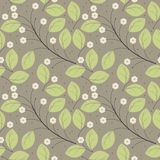 Perfect spring seamless pattern with green leaves and ivory flow Stock Photo