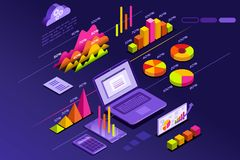 Perfect statistics presentation elements diagram rise. Statistics presentation with perfect statistic elements and diagram rise. Isometric icons vector design Stock Photo