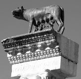 Perfect statue of CAPITOLINE WOLF with the twins Romulus and Rem Stock Photography