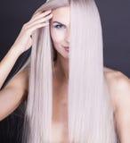 Perfect straight long grey hair Stock Photo