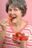 Perfect Strawberry Bite Stock Photos