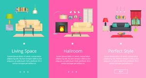 Perfect Style and Living Space Vector Illustration. Perfect style and living space, set of web pages of internet shop, depicting room design composition with Stock Images