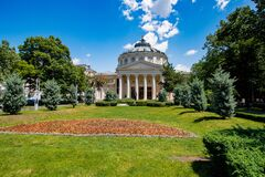 Perfect summer day at Romanian Athenaeum in Bucharest