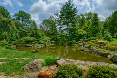 A perfect summer day overlooking the Koi Pond at the Shofuso. Japanese Tea House stock image