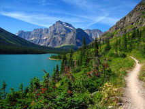 Perfect Summer Hike. Grinnell Glacier Trail, Lake Josephine, Glacier National Park, Montana Royalty Free Stock Photo