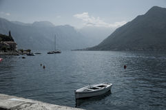 Perfect summer view. Magnificent photo of Montenegro Bay , look from apartment at the sea at sunny day. Boka Kotorska bay is near and view left us speechless Royalty Free Stock Photos