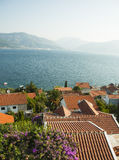 Perfect summer view. Magnificiant photo of Montenegro Bay , look from apartment at the sea at sunny day.  Boka Kotorska bay is near and view left us  speechless Stock Photography