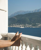 Perfect summer view. Magnificiant photo of Montenegro Bay , look from apartment at the sea at sunny day.  Boka Kotorska bay is near and view left us  speechless Royalty Free Stock Photos