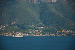 Perfect summer view. Magnificiant photo of Montenegro Bay , look from apartment at the sea at sunny day.  Boka Kotorska bay is near and view left us  speechless Royalty Free Stock Photo