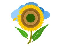 The almost perfect sunflower on the blue cloud background stock illustration