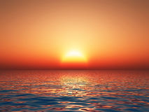 Perfect sunset. 3d render of a beautiful tropical sunset Royalty Free Stock Photography