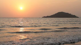 Perfect Sunset on the Beach. At ocean stock footage