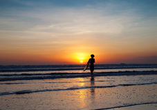 Perfect sunset for surfers in Bali Stock Photo